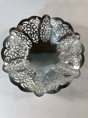 Antique LOVELACE International Silver Co.Filigree Footed Silver plated Bowl 3016