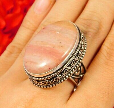 Pink Calcite .925 Silver Plated Carving Ring Size -7.50 Jewelry JC3308