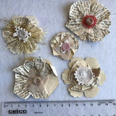 Handmade PAPER FLOWERS Shabby Vintage Book Pages Journal Card Topper Gift Trim