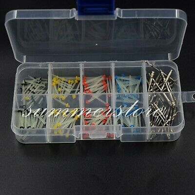 160 Pcs Dental Straight+Screw Glass Fiber Post Canal Pins Resin & 32 Pcs Drills