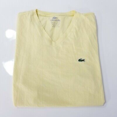 Yellow Lacoste Short Sleeve T Shirt V-Neck Pima Jersey Cotton Fast Shipping WIIT