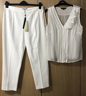 Fab Coast Ivory Top & Trouser Outfit 14-16 Short Nwt Wedding/ Christening ?