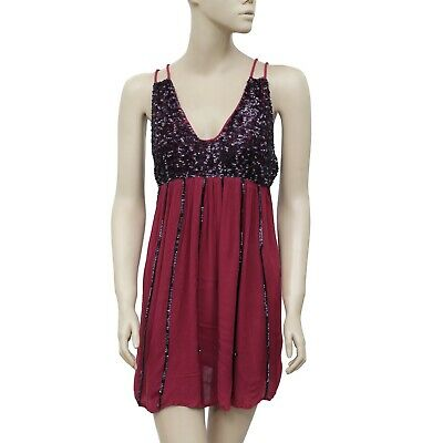 e2279c1b3913 187789 Free People Glitter Girl Mini Slip Embellished Burgundy Party Dress  XS