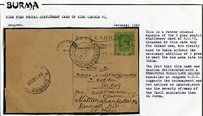 BURMA STATIONERY 9p to INDIA DEC 1940 NATTARASANKOTAI POSTMARK
