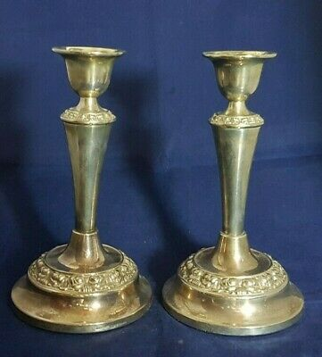 Beautiful Pair of Antique silver Plated Candle Stands (Height - 18 cm)