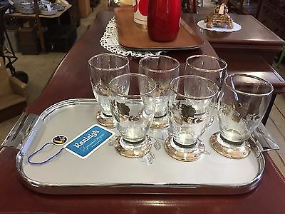 Vintage Retro Ranleigh Chrome Serving Tray with 6 Glasses Drink Set Rose Pattern