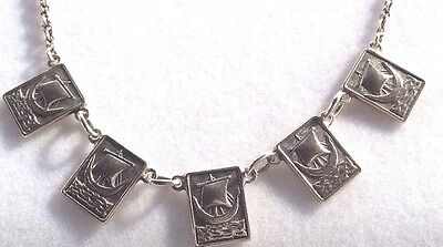 VINTAGE Sterling SILVER SHIP / BOAT IONA Chain NECKLACE Birmingham 1966
