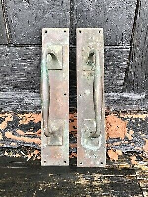 Reclaimed Pair of Vintage Brass/Bronze Door Pulls Handles on Plates Patina