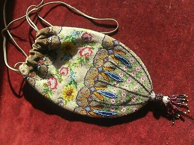 Original Antique Victorian / Edwardian Beaded Bag, Reticule Style Vintage Purse.