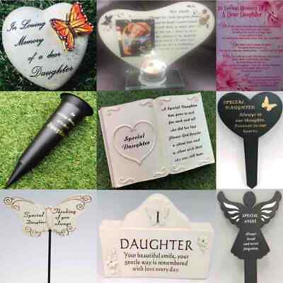 Daughter Grave Memorial Plaque Frame Stake Spike Vase Ornament Remembrance Item
