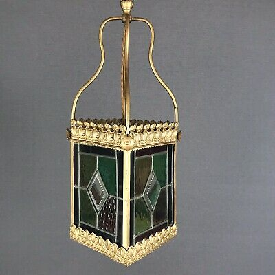 Victorian Multi-coloured Leaded Glass Lantern - Rewired