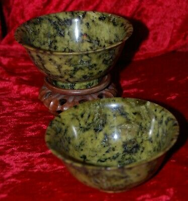 Antique Pair Of Chinese Spinach Green Jade Bowls