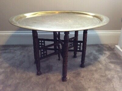 Large Antique Brass Tray Top Table With Folding Legs...78cmw,48cmh