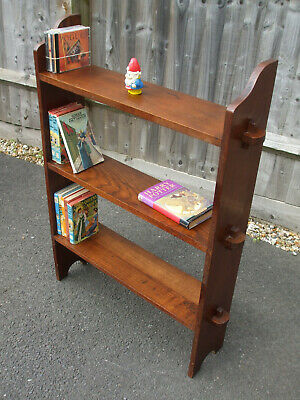 Antique Arts and Crafts pegged bookcase, charming country piece in English ash