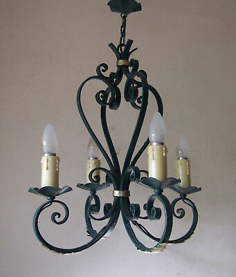 Classic Antique  French   Forged Iron Four Branch Chandelier 1920