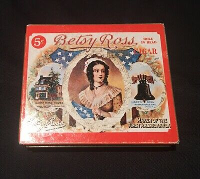 Betsy Ross HOLE IN HEAD cigar tin in very good condition