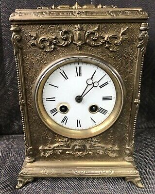 Stunning Antique Belle Epoque Brass Bracket Clock