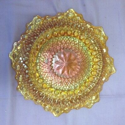 "Marigold Carnival Glass Eight 8 Petals Bowl 7.5"" VGC Vintage + FREE ITEM!!"