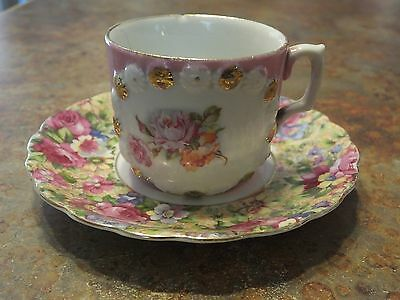 Aiyo Made in Occupied Japan china saucer teacup pink rose pattern gold trim