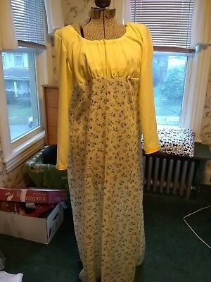ee6ae117961f Regency Era~ Jane Austen Yellow Calico drawstring Gown 36 * not lined