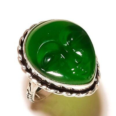 Carved Bone Face Green Onyx Gemstone silver plated Handmade Pear Ring US-6.75