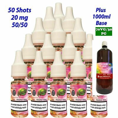 50 x 10ml Nikotin Shot - Nikotinshot 20mg/ml plus 1000ml Base 70/30