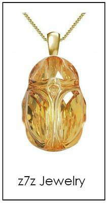 "GOLDEN CRYSTAL SCARAB Necklace - 1/2"" Swarovski glass egyptian amulet z7qq"