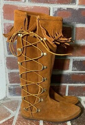 4c19ef1e52415 Minnetonka Brown Suede Side Lace Up Tall Fringe Moccasin Boots - Women's  Size 8