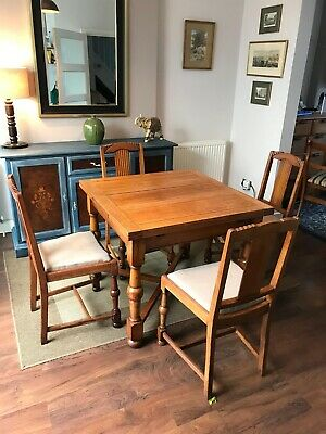 Art Deco Oak Dining Table & Chairs Restored