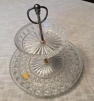 Vintage Round 2-Tier Crystal Clear Cut Glass Serving Tray with Silver Handle