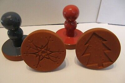 4 Terracotta Cookie Biscuit Stamps or Presses - Christmas Theme - VGC