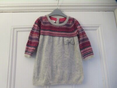 6-12m: Lovely soft knitted dress: Grey Fair Isle: Part angora: MONSOON