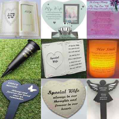 Wife Grave Memorial Plaque Frame Stake Spike Vase Ornament Remembrance Item