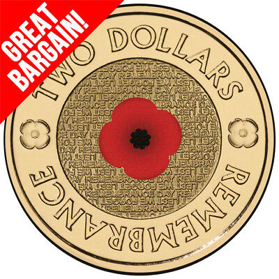 2012 Australian $2 (two dollars)Red Poppy Remembrance Colour Coin UNC FROM-ROLL<