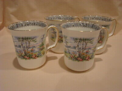 Set of 4 Royal Albert Silver Birch Ribbed Coffee Mugs...Excellent!