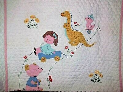 Vintage Baby quilt with children and toys  animals 56 x 34 inches