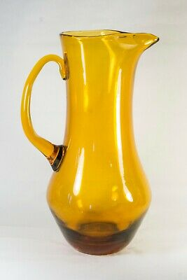 Tall Water Pitcher | Vintage MCM Carafe | Ice Tea Pitcher | Wheat Glass Pitcher