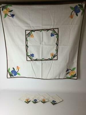 Vintage Small Hand Made Applique Embroidered Square Card Tablecloth & Napkin Set