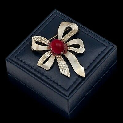 Antique Vintage Art Deco Retro Sterling Silver Red Glass Ribbon Bow Pin Brooch
