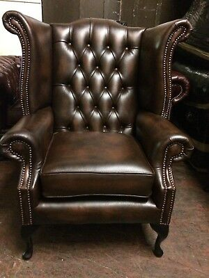 Chesterfieldr Queen Anne High Back Wing Chair Antique Brown Real Leather