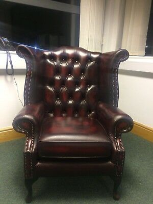 Chesterfield Queen Anne High Back Wing Chair Oxblood Real Leather