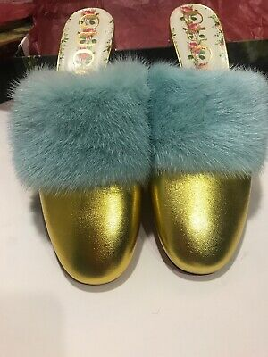 68ad867b6 New Gucci Mule Shoes Pumps Candy Embellished Size 40 10 $1150 Gold Fur