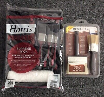 "Harris Premier Supreme Pack 9"" Roller Set Microfibre Sleeve 5 Brushes + Timber B"