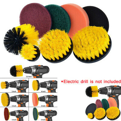 Drill Brush Scrub Pads Power Scrubber Cleaning Kit All Purpose 8 Piece