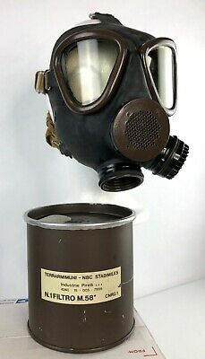 Italian M59 Surplus Gas Mask / Respirator + NATO 40mm NBC Filter - VTG NOS