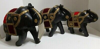 Exotic Elephants ~Ornate Handcrafted SET OF 3 Wooden Elephants ~Made in India