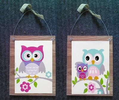 Owl Pictures Bed Bath Wall Hangings Home Decor Colorful Owls Plaques