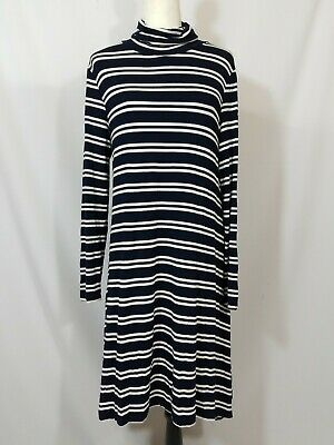 45d1164a2002 Maeve Anthropologie Navy Blue White Striped Turtleneck Swing Dress Size  Large