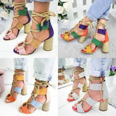 35b3610e53 Women High Block Heels Sandals Strappy Crossover Open Toe Ankle Strap Shoes  Size