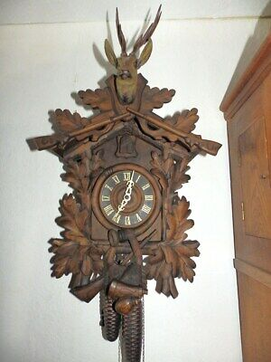 Nice Old Black Forest  Cuckoo  Clock With 2 Weights For A Easy Restauration